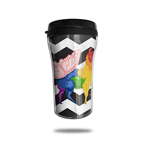 OUYouDeFangA - Taza de Viaje con diseño de Mariposa arcoíris y Llama, con impresión 3D, portátil, Taza de té, Vaso de Agua con Aislamiento, para Beber con Tapa, 8.54 onzas (250 ml)