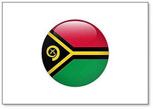 Vanuatu Flagge auf Knopf, klassischer Kühlschrankmagnet