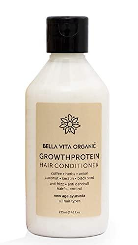 Glamorous Hub Bella Vita Acondicionador para el control de la caída del cabello con proteína de crecimiento orgánico para cabello seco y encrespado, 225 ml