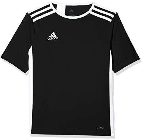 adidas Men's Entrada 18 AEROREADY Primegreen Regular Fit Soccer Short Sleeve Jersey, Black-White, Medium
