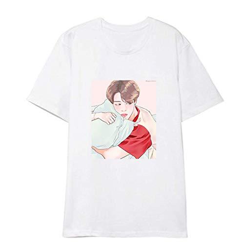 ZIGJOY Kpop Bulletproof Boy Scouts Unisex Bangtan Boys T-Shirt Comic Stil Tops LoveYourself Speak Yourself Jin Sugar Jungkook Jimin RM JH Tee für Fans WHITE-STYLE11-XXL