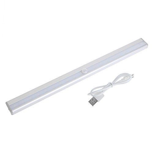 Itlovely USB 20 LED Rechargeable Automatic Under Cabinet Light PIR Motion Sensor Lamp