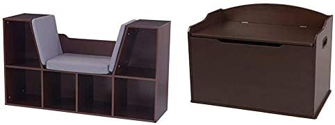 KidKraft Bookcase with Reading Nook Toy Espresso Austin Toy Box product image