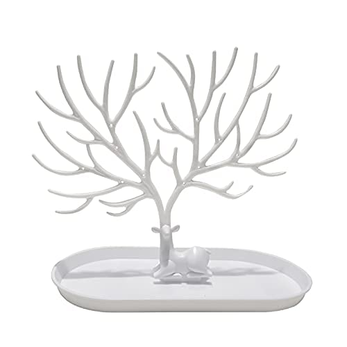 ARTUST Updated Jewelry Deer Stand Jewelry Tree Holder Storage Rack Tray for Necklaces Earring Ring Bracelets (White)