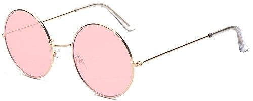 ALWAYSUV Runde Rahmen Vintage John Lennon Sonnenbrille Brillenfassung Hippe Brille (Rosa)