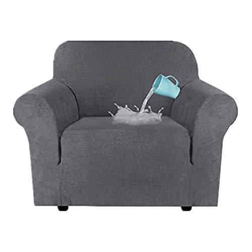 TIUTIU High Stretch Velvet Plüsch Sofabezug Wasserabweisende Möbel Protector Wildleder Couch Covers, 1-4 Sitz Sofa Easy Fit Elastic Fabric Sofa Protector (Grey,1 Seater:81-121cm)