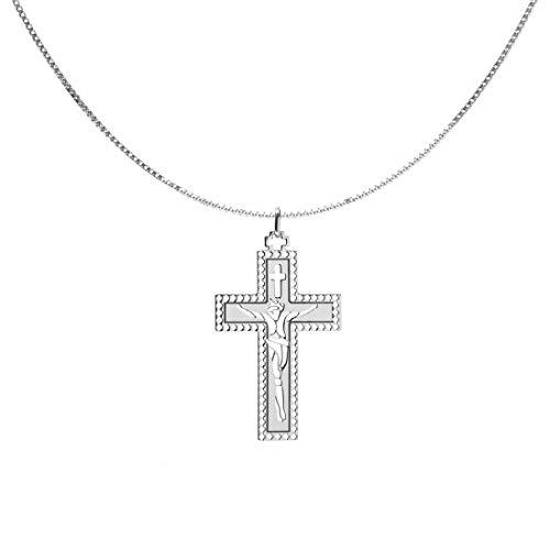 Remo Gammella - Collar con colgante de cruz de plata 925 bañada en oro blanco, cadena con colgante de plata de cruz. Longitud total: 50 cm