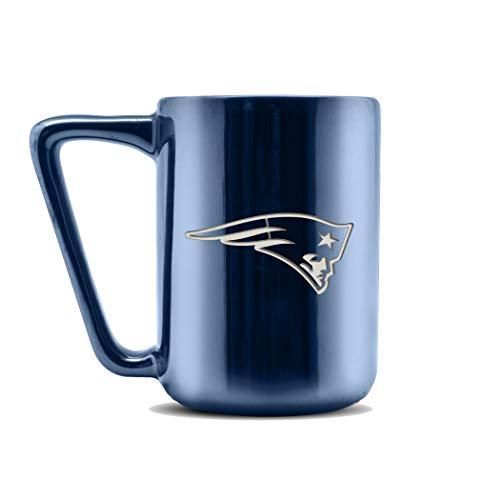 NFL New England Patriots Keramik-Kaffeetasse mit Metallic-Finish | professionelle Keramik | Lasergraviertes Team-Logo | BPA-frei | spülmaschinenfest | 473 ml