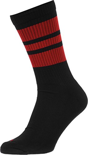 Spirit of 76 Los peperoni Peperonis | Calcetines retro de rayas de alto medio | rayas negras, roja | calcetines unisex estilizados entubados Size S (35-38)