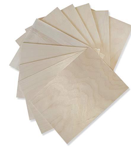Wood Lab 10 x A4 Pannelli In Legno Compensato Betulla |3mm (±0,5mm) 29,7 x 21 cm A4 |Tavole Di Legno Grezzo per Bricolage, Pirografia, Traforo, CNC, Laser,Legno da Decorare, Decoupage, Incisione (10)
