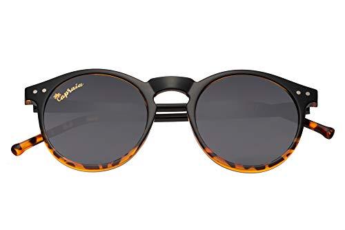 Capraia Timorasso Festival Runde Vintage Sonnenbrille Ultraleicht TR90 Glänzender Schwarz zu Leopard Rahmen und Dunkle Polarisierte Gläser UV400 Schutz für Männer und Frauen