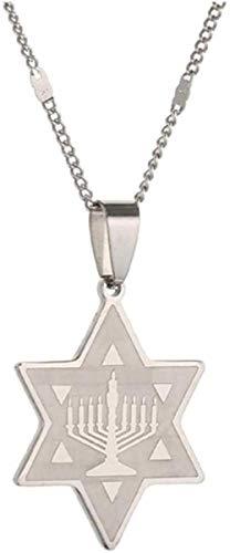 quanjiafu Collar Templo De Menorah De Acero Inoxidable con Colgante De Estrella De David, Collar, Joyería con Dije De Estrella Collar