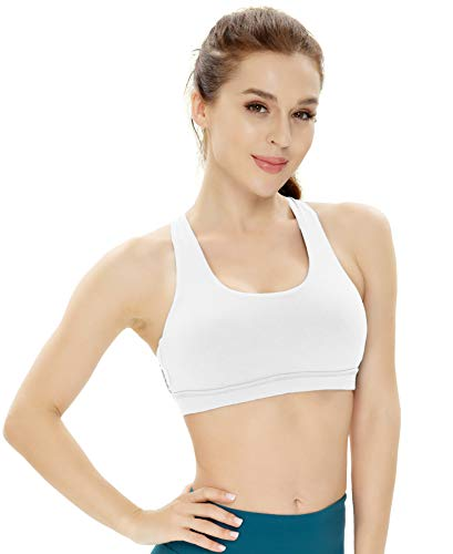 QUEENIEKE Women's Medium Support Strappy Back Energy Sport Bra Cotton Feel Size M Color Angle White