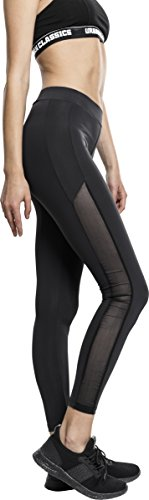 Urban Classics TB1736 Ladies Tech Mesh Stripe Leggings, lange Laufhose für Damen, Trainingshose für Sport und Freizeit, Farbe Schwarz, Größe XL