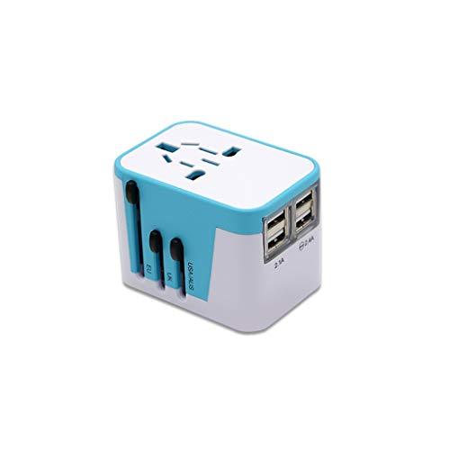 Adaptador Enchufe De Viaje Adaptador de viaje, adaptador de enchufe universal de viaje mundial, adaptador de energía internacional, convertidor de enchufe con puertos USB para US UE UK AUS EUROPEN Uni