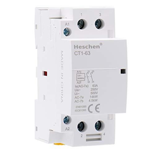 Heschen Contactor de CA doméstico CT1-63 Ie 63A 2 polos Dos normalmente...