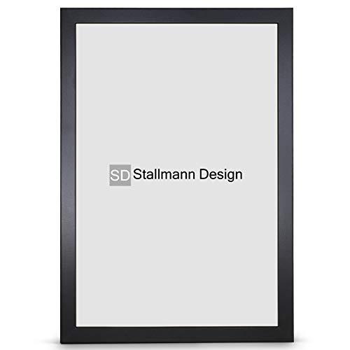 Stallmann Design Bilderrahmen New Modern 60x90 cm schwarz Rahmen Fuer Dina 4 und 60 andere Formate Fotorahmen Wechselrahmen aus Holz MDF mehrere Farben wählbar Frame für Foto oder Bilder