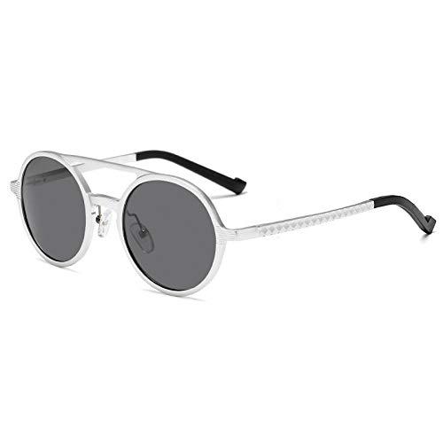 XXBFDT Sunglasses, Unisex Adulto - Marco redondo masculino de magnesio de aluminio que conduce las gafas de sol polarizadas-plata