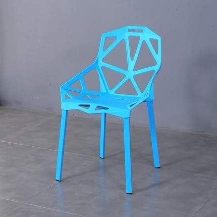 Maison & Jardin/Meubles HGFH 2 PCS Mode Chaise de dossier en plastique moderne simple Chaise de salle à manger ajourée (Noir) (Couleur : Green) Blue