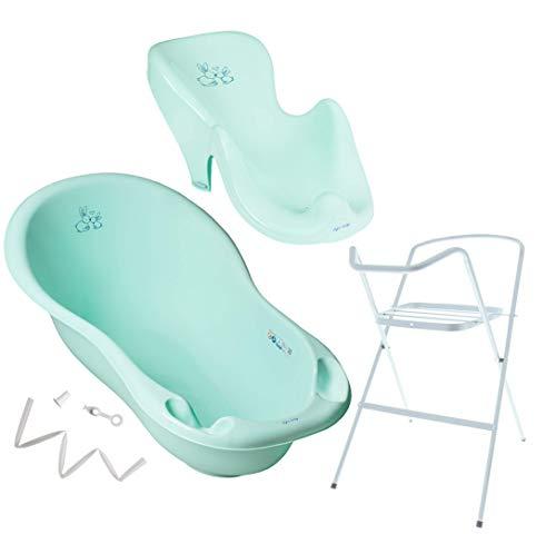 Tega Baby ® Baby Badewanne mit Gestell und Verschiedene Sets mit Babybadewannen + Ständer + Abfluss + Badewannensitz 0-12 Monate | ergonomisch Neugeborene, Motiv:Häschen - aquamarine, Set:4 Set