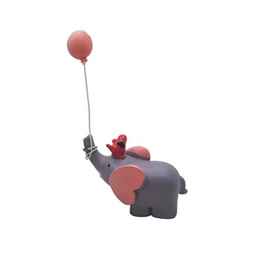 STOBOK Precioso Globo, Elefante, muñeca, Resina, Adornos de Pastel, pequeñas artesanías, Postre, decoración de Mesa para la Tienda de Fiesta (Rosa)