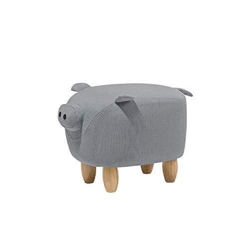 Beliani Pouf Animaletto a Forma di Maialino in Tessuto Grigio Gambe in Legno Piggy