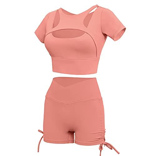 Traje de dos piezas para mujer, sexy, bodycon de color sólido, manga corta, recortado + pantalones cortos de levantamiento de glúteos, trajes deportivos de yoga, rosa claro, L