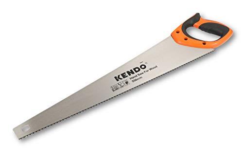 KENDO Fuchsschwanz Säge 550 mm – 7 Zähne/Zoll – Handsäge Holz – FastCut – mit ergonom. Bi-Materialgriffen – Holzsäge mit gehärteter, dreifach geschliffener Verzahnung