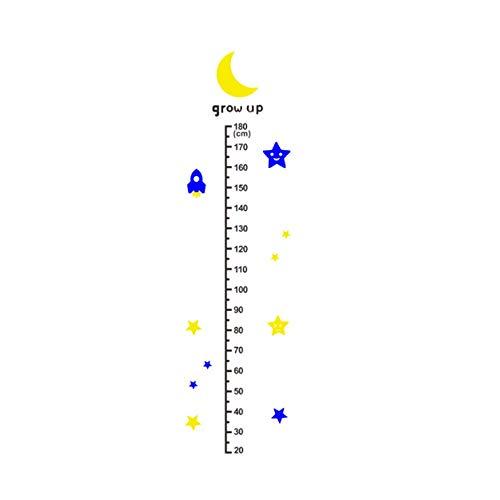 Zhzhqm DIY Autocollant Mural Children Height Chart Kid Room Ruler Mesurer Graphique de Bricolage Croissance de la Taille Autocollant Mural Moon Rocket