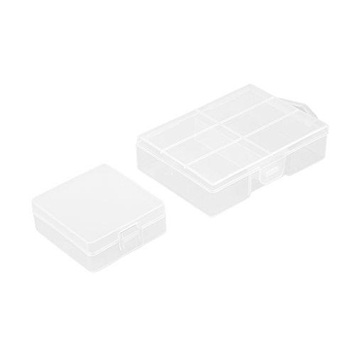 sourcingmap 2Pcs dégagent la boîte de Stockage portative de la Batterie AAA, Récipient de Protection de Batterie de 9V