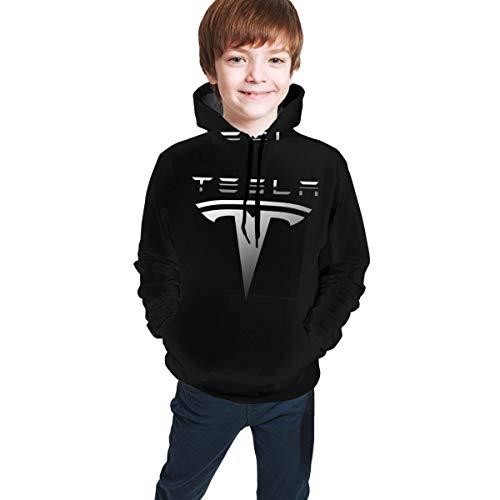 KRISMARIO Teen Kinder Kapuzenpullover Kleidung Herbst und Winter Tops geeignet für Jungen und Mädchen im Alter von 7-20 Stylish Tesla-Logo-Symbol-Emblem- S