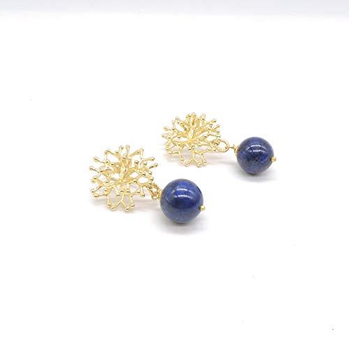 Orecchini Perno a Forma di Corallo Dorato e perle pendenti