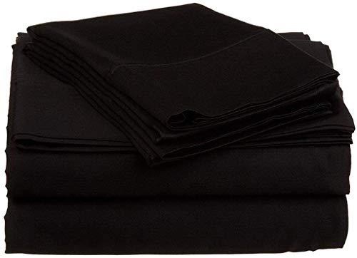 1000 Hilos 6 Piezas Juego de sábanas (Negra sólido, Reino Unido Doble 135 x 190 cm (121,92 cm 6 in x 6 ft 3 in), tamaño de Bolsillo 42 cm) 100% algodón Egipcio Premium Calidad