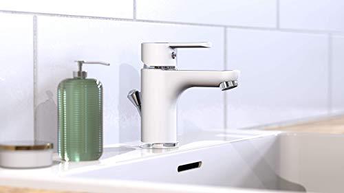 EISL Waschtischarmatur, Badarmatur, Einhebelmischer mit Ablaufgarnitur Chrom NI075DINWCR, Diziani_Weiß