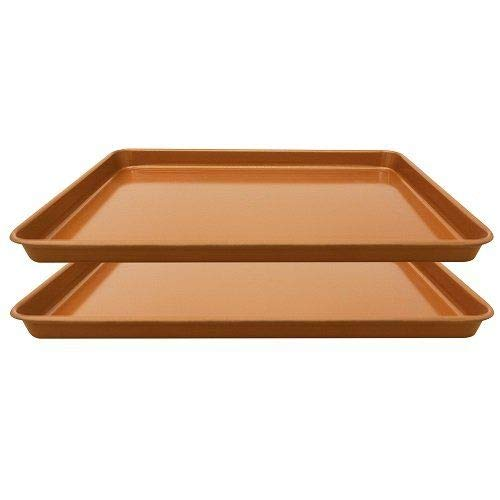 Set of 2 Nonstick Copper Cookie Sheet and Copper Coating Baking Pan for Cookies 11' x 16'