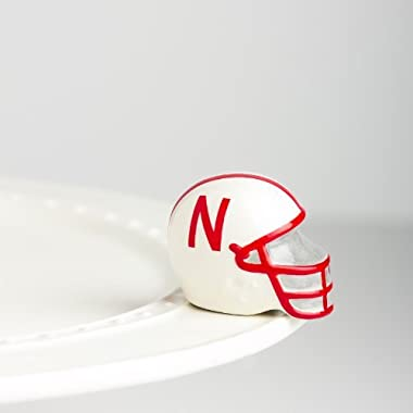 Nora Fleming Mini - University of Nebraska Football Helmet - Hand-Painted Ceramic Charm - A302