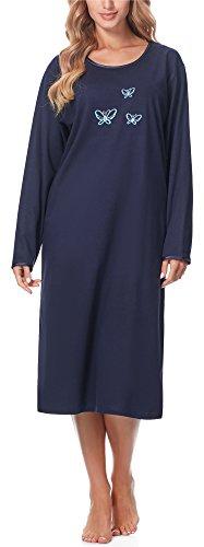 Merry Style Damen Langarm Nachthemd 91LW1 (Dunkelblau (Langarm), 46 (Herstellergröße: XXXL))