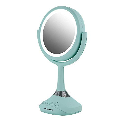 Ovente Lighted Vanity Mirror, Table Top, 360 Degree Spinning 6'' Double Sided Circle LED 1X 5X Magnifier with MP3 Audio, Wireless Speaker, Rechargeable, USB Operated, Baby Blue MRT06BL1X5X