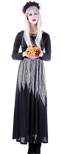 Emin Damen Gothic Kleid Sexy Spitze Geisterbraut Zombiekostüm Kostüm Halloween Karneval Party Fasching Cosplay Verkleiden Horror Vampir Teufel Zombie Braut Brautkleid Erwachsenen Kopfschmuck Schwarz