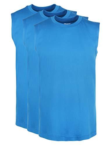 Ultrasport Herren Sport Freizeit Tank Shirt Ärmellos Tankshirt, Blau, M , 3er Set