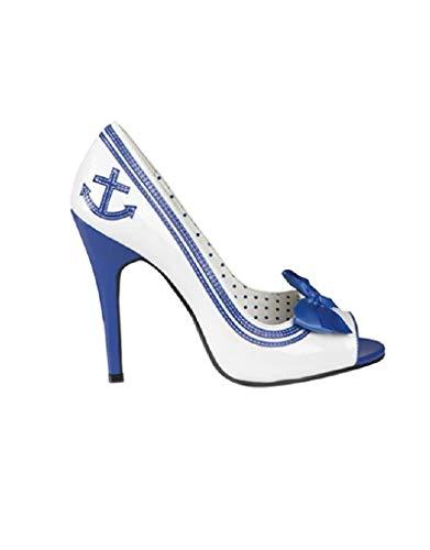 B46332-38 blau-weiß Damen Navy Schuhe High Heels Marineschuh Gr.38