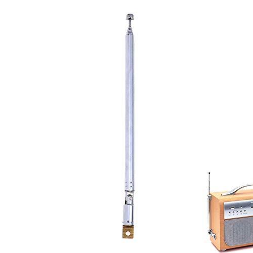 MENGGOO 1pc 7 Secciones Antena telescópica Antenas aéreas para automóviles para Radio TV Plata Conector expandido Aéreo Longitud Total 765mm Nuevo