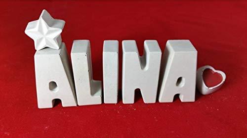 Beton, Steinguss Buchstaben 3D Deko Namen ALINA mit Stern und Herzklammer als Geschenk verpackt! Ein ausgefallenes Geschenk zur Geburt, Taufe, Geburtstag, Namenstag oder auch zu anderen Anlässen.