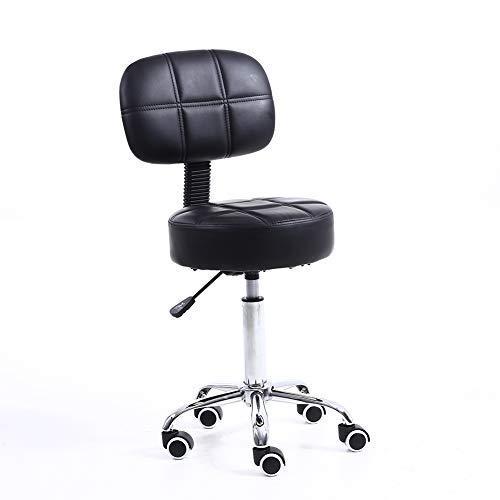 KKTONER Rollhocker Arbeitshocker mit Rückenlehne Höhenverstellbarer SPA Medical Salon Hocker Stuhl mit Rädern PU Leder schwarz