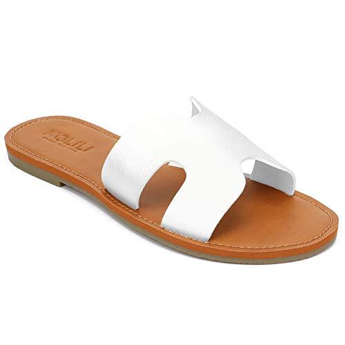 KOLILI Womens Slide Sandals, Summer Flat Sandals for Women, Fashion Comfortable Beach Sandals Shoes, White, 10 US