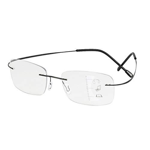 Óculos unissex de leitura progressiva flexível, multifocal, para computador, óculos sem aro