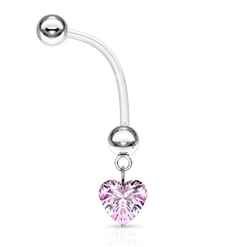 "CRYSTAL Heart Dangle Pregnancy Maternity Flexible Belly Button Naval Retainer Ring. UV, Nickel and Allergy Free - 14G - 1"" long - 5mm Ball"