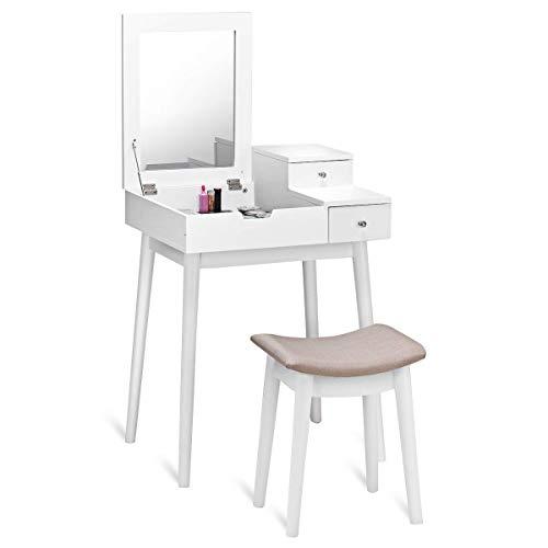 COSTWAY Toeletta con Sgabello e Specchio, Comò da Trucco, Tavolino Cosmetico con Vano Contenitore, in MDF, Bianco