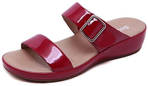 ChayChax Mules en Cuir Femme Été Mode Sandales Bout Ouvert Plates Compensées Pantoufles d'intérieur et extérieur Chaussons de Plage Confortables Chaussures d'été, C Rouge,40 EU