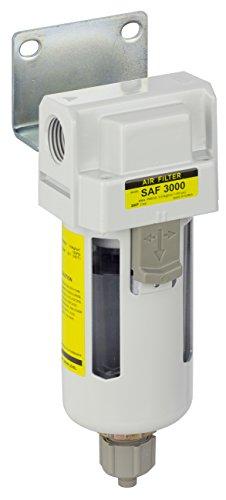 "PneumaticPlus SAF3000M-N03B Compressed Air Particulate Filter 3/8"" NPT - Manual Drain, Poly Bowl, 10 Micron"
